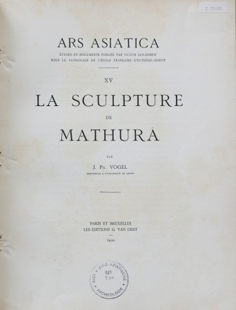 First  cover of 'LA SCULPTURE DE MATHURA.'