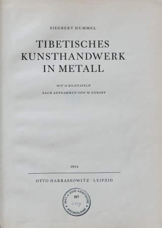 First  cover of 'TIBETISCHES KUNSTHANDWERK IN METALL.'