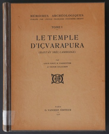 First  cover of 'LE TEMPLE D'IÇVARAPURA (BANTAY SREI, CAMBODGE).'